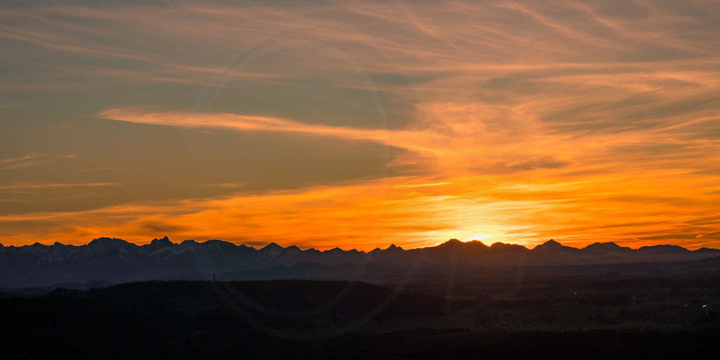 Sunset over the Alps