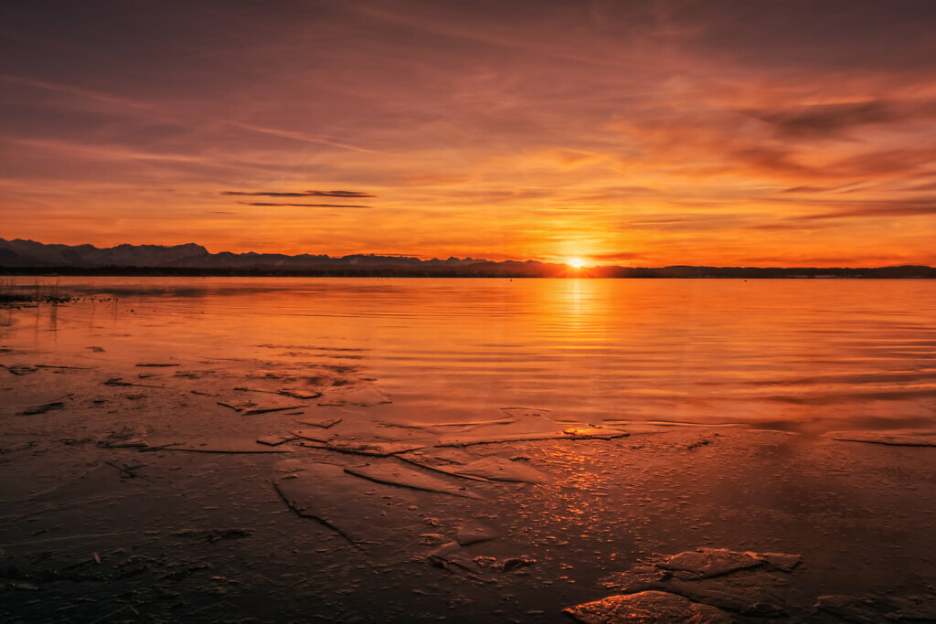 Winter Sunset Buchscharn, Lake Starnberg